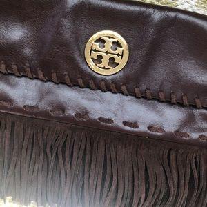 Tory Burch dark brown fringe purse